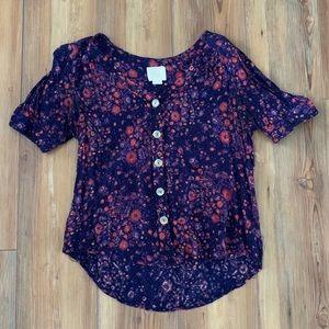 Maeve floral button down blouse
